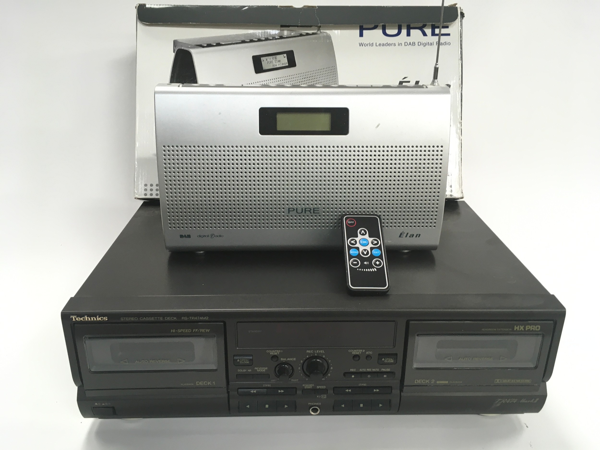 Technics cassette deck RS-TR474M2 with a Pure DAB portable radio with box.