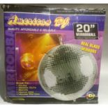 MIRROR BALL. Made by American DJ and comes with some mirror tiles loose from base of ball. Sizes -