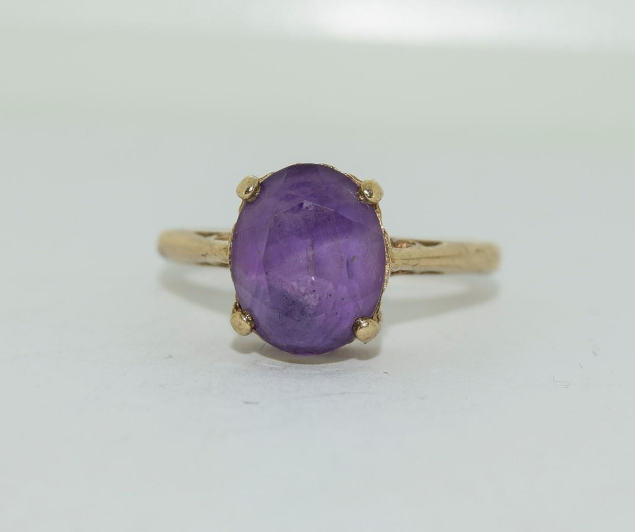 9ct gold ladies Amethyst ring size N - Image 12 of 12