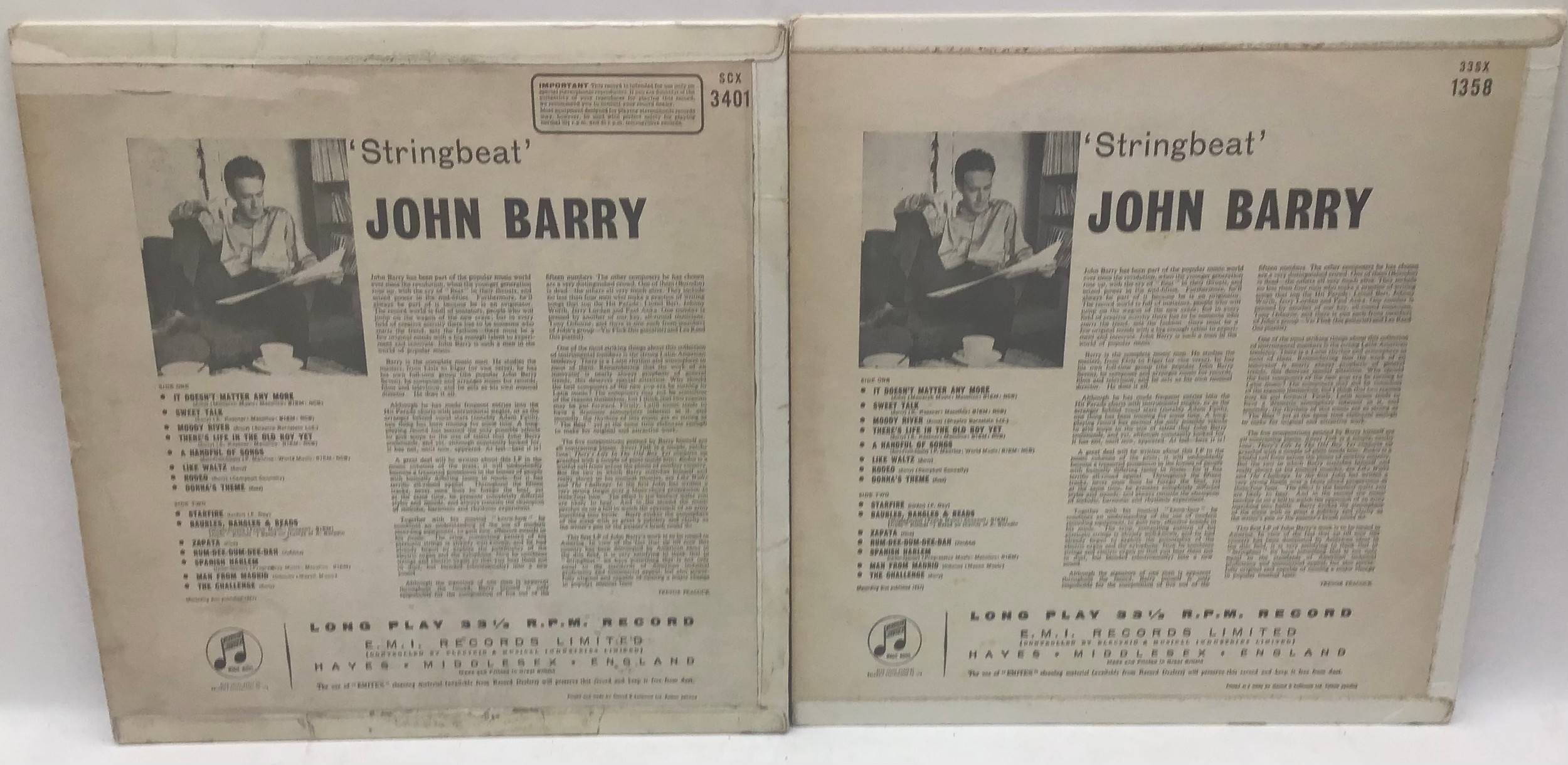 JOHN BARRY VINYL LP RECORDS. Here we have a mono and stereo copy of ?Stringbeat? on Columbia SCX - Image 2 of 2