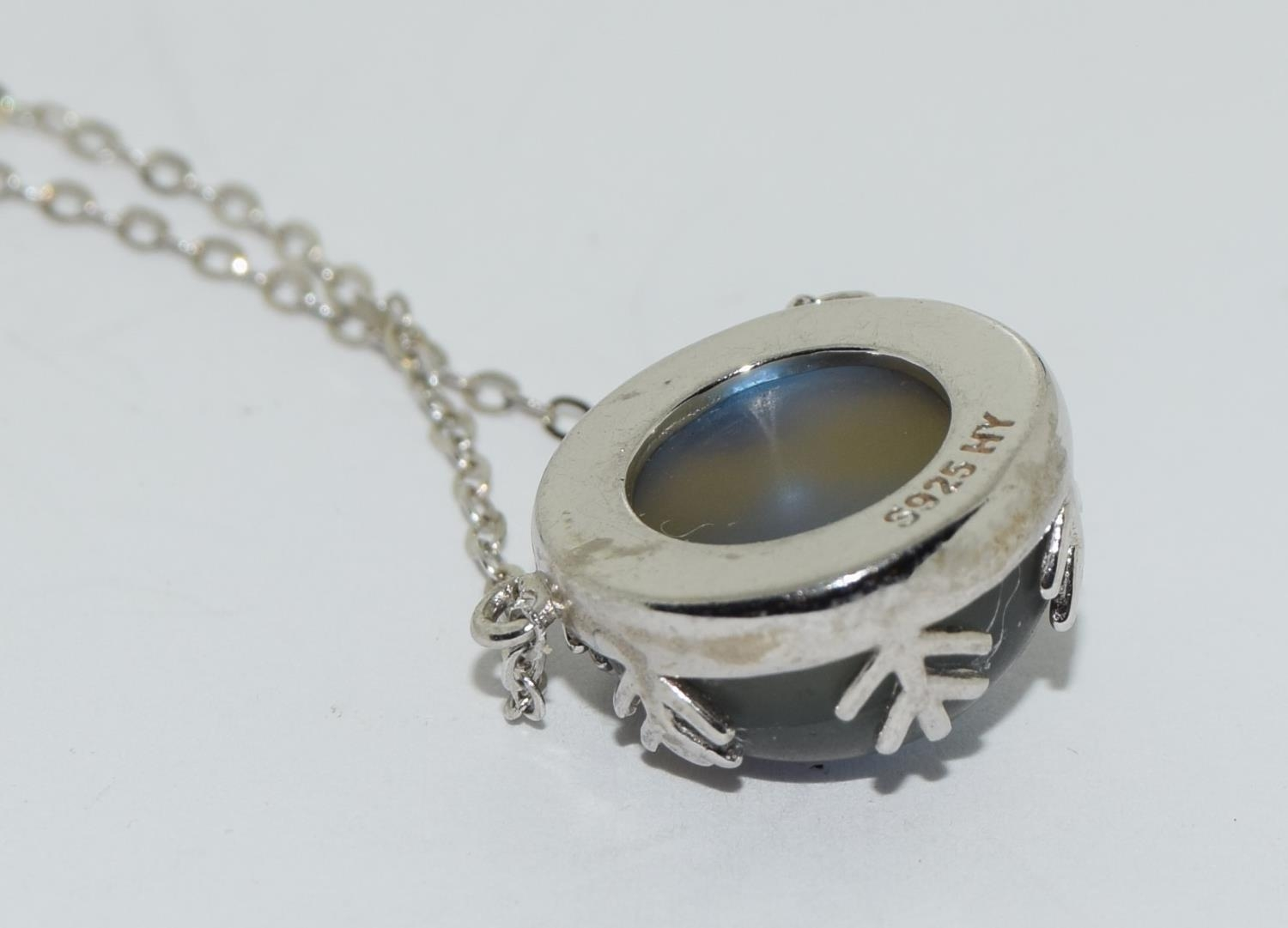 Colourful Mystic Moonstone 925 silver pendant. - Image 3 of 3