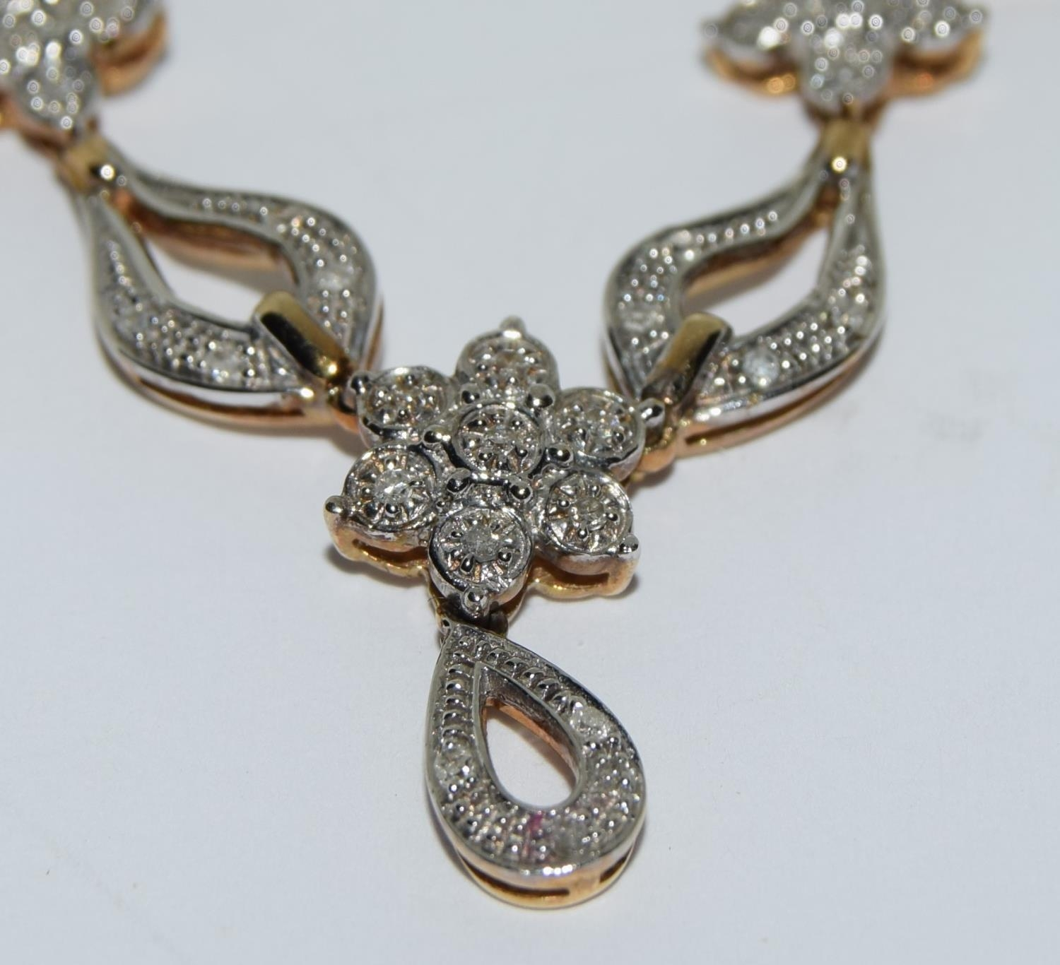 Diamond 9ct gold necklace, boxed - Image 5 of 5