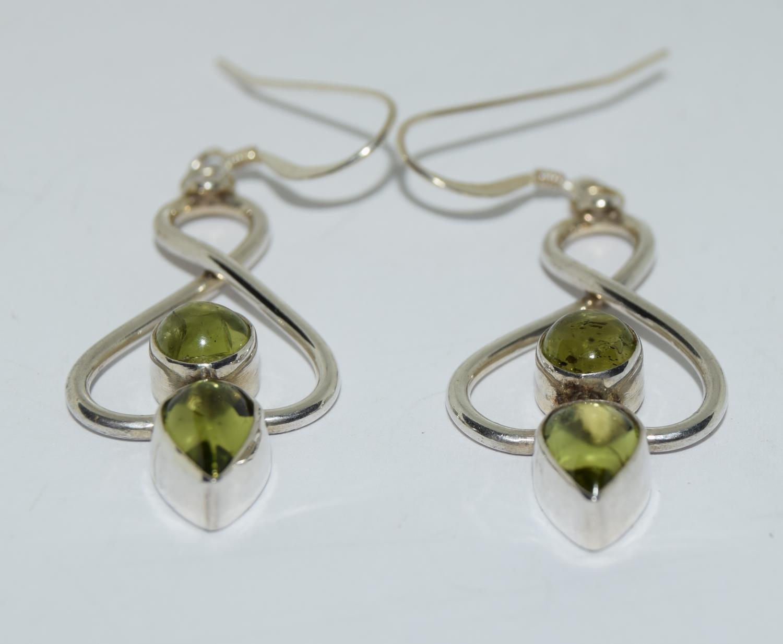 Beautiful large peridot 925 silver drop earrings.