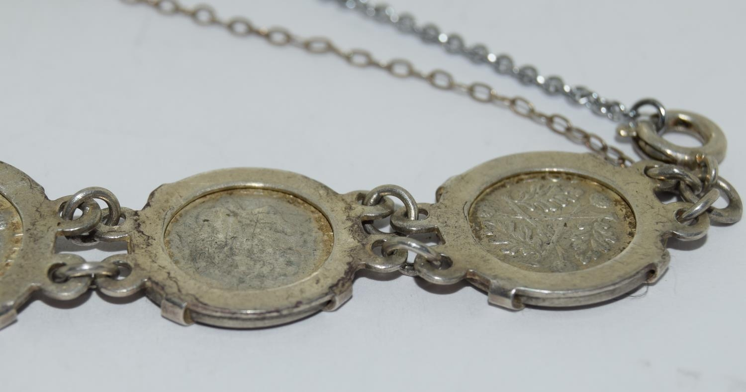 Silver ladies coin bracelet - Image 2 of 4