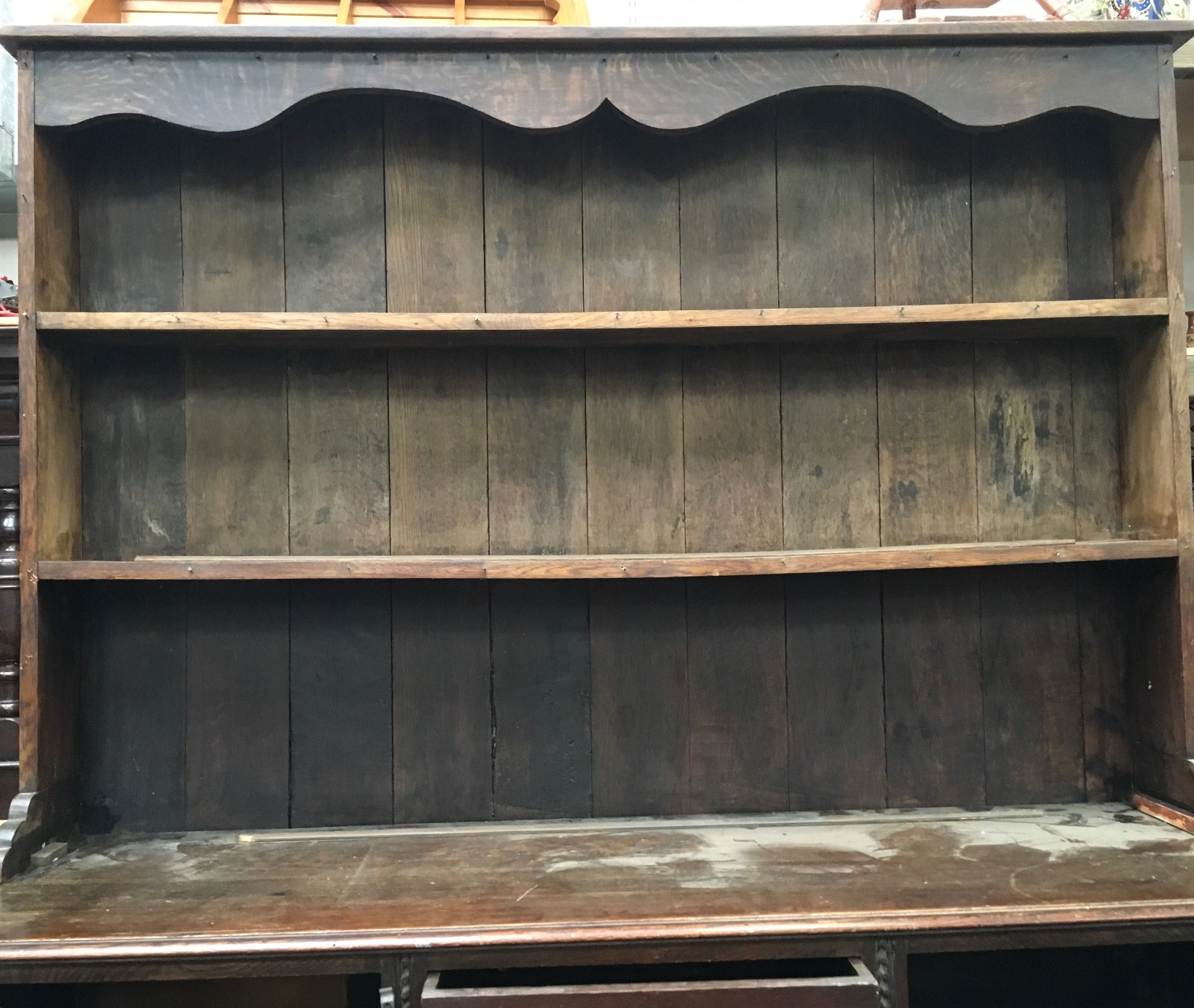 Antique oak two part dresser on barley twist supports 201x151x48cm. - Image 4 of 4