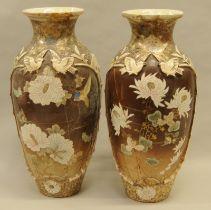 Pair satsuma Oriental vases (inspect) 50x20cm