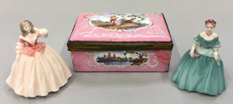 """Pink cloisonne porcelain jewellery box together with two Coalport lady figurines """"Flora"""" and """""""