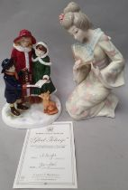"""""""Glad Tidings"""" Limited edition figurine 259/300 with certificate together with Geisha girl figurine."""