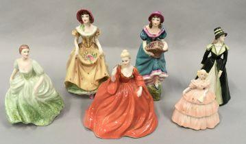 "Coalport porcelain lady figures to include ""Natalie"", ""Minuettes-Summertine"", ""Penelope"", """