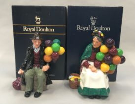 Royal Doulton Figurine The Old Balloon seller HN1315 together with The Balloon Man HN1954, Boxed