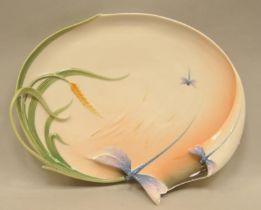 Franz fine porcelain dragonfly large tray along with 4 Franz porcelain spoons