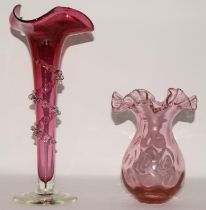 """Cranberry glass late 19th century vase with crimped & ruffled edge 6.2"""" high together with a"""