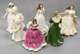 Four Royal Worcester porcelain lady figurines together with a Coalport figure and one other (6).