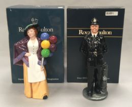 Royal Doulton figurine The Bobby HN2778 together with The Balloon Lady HN2935, boxed