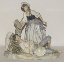 Lladro large group depicting a reclining shepherd with girl & sheep 1970's retired piece approx 11.