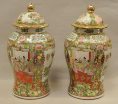 """Pair of large lidded Oriental ginger jars approx 16.5"""" tall"""