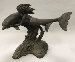 Heredities sculpture of the Mermaid and the dolphin 30x40x20cm