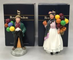 Royal Doulton Figurine Biddy Penny Farthing HN1843 together with The Balloon boy HN2934,Boxed