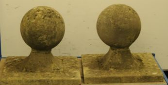 """Pair of large round stone gate finials on square base. Base size 20.5"""" x 20.5"""""""