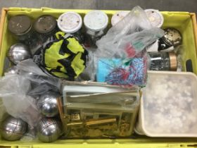 Large box of do it yourself items to include screws, nails, plastic clips, drawer runners, locks and