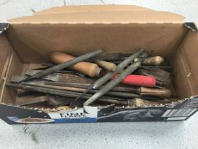 Quantity of vintage wood working tools and files.