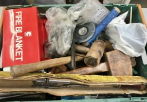 Large box of various hand tools etc to include Fire Blanket, hammers, tile cutters and other items.