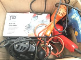 Collection of various power toools to include boxed Performance 650W planer, drills etc.