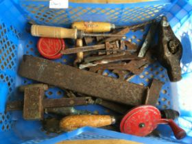 Blue tray containing 25+ old tools, spanners and woodwork some in need of restoration.