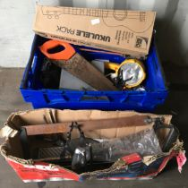 Open top plastic crate with various old tools and fittings, mitre saw on frame plus many misc items.