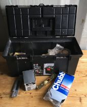 A plastic tool box containing screws, raw bolts, various locks and fittings with misc other items.