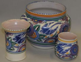 Poole Pottery large HE pattern planter together with a similar pattern shape 199 vase & a shape