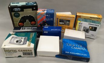 A collection of modern boxed cameras and binoculars to include praktica, Baypa etc.