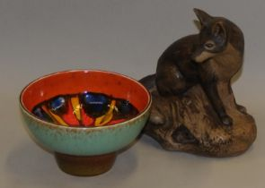 Poole Pottery Barbara Linley Adams fox together with a Delphis footed bowl (2)