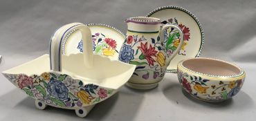 Poole Pottery unusual BN pattern floral basket together with a similar pattern bowl, large jug & two