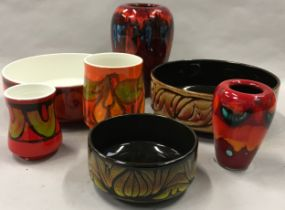 Poole Pottery Delphis bowl and two vases together with two Aegean bowls & two pieces of living glaze