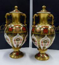 Royal Crown Derby Old Imari pair of lidded Sudbury vases in original boxes. 20cm tall