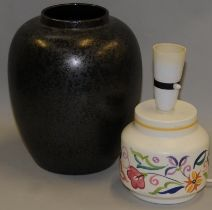 Poole Pottery large Calypso vase together with a small traditional lamp base (2)