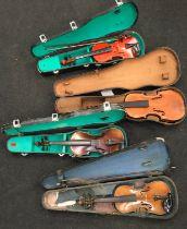 4 vintage cased violins for restoration