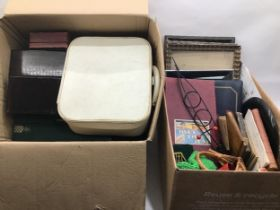 Two boxes of books, frames etc.