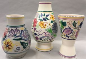 Poole Pottery large BN lamp base together with a large CS pattern vase & a TV pattern vase (3)