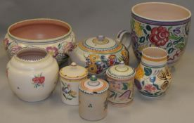 Poole Pottery quantity of Traditional to include teapot, planter, bowl, vases & lidded pots (8)