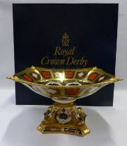 Royal Crown Derby Old Imari large dolphin footed centrepiece. 14.5cm tall x 27cm across. In original
