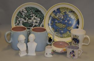 Poole Pottery map plates depicting Poole Harbour (2) together with a pair of large Twintone mugs, an