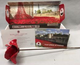 Commemorative Tower of London poppy c/w box and certificate