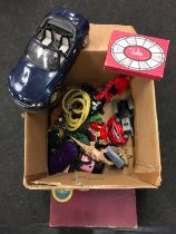 Box of toys, linen Girl Guides items etc.