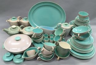 """Poole Pottery large collection of """"Twintone"""" dinnerware approx 60-70 pieces."""