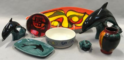 Poole Pottery to include dolphins, frog, Delphis spear dish etc (8).