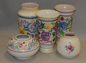 Poole Pottery quantity of late traditional designed vases (5)