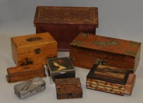 A collection of wooden boxes including a brass bound cigarette box, a Mauchline ware lidded