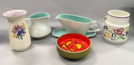 Six items of Poole Pottery to include Twintone and Traditional.